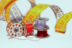 Coloured bobbins for machine sewing royalty free stock photography