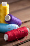 Coloured bobbins of thread Royalty Free Stock Photography