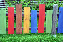 Coloured border. Around the childs garden made it from wood material royalty free stock images
