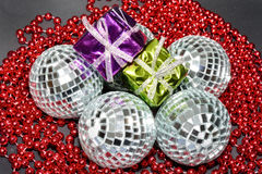 Coloured boxes with Baubles Stock Photos