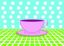 Coloured breakfast. Cup of milk and coffee over a light green cloth and a pois blind on background royalty free illustration