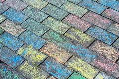 Coloured brick. Background of colored brick walkway Royalty Free Stock Photos