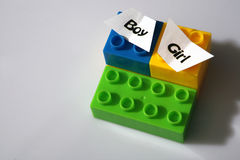 Coloured brick toys Royalty Free Stock Images