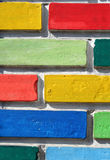 Coloured bricks wall. Wall made of coloured bricks stock photos