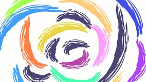 Coloured brush strokes turning on white background. Coloured concentric lines turning on background stock illustration
