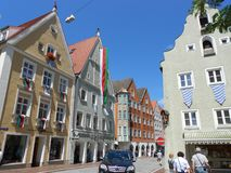 Coloured buildings in Landsberg am Lech, Bayern stock images