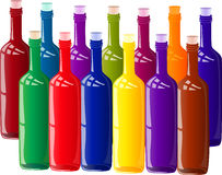 Coloured butelki Zdjęcia Royalty Free