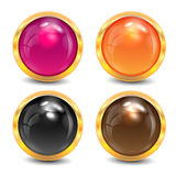 Coloured buttons. Are in a gold frame stock illustration