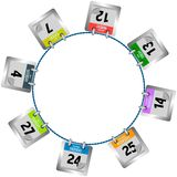 Coloured calendar pages hanging in circle Royalty Free Stock Photo