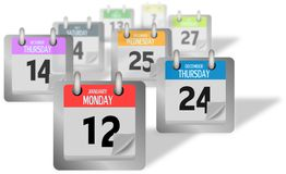 Coloured calendar pages standing of the desk Stock Photography