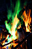 Coloured Campfire. Flames (blue, green, purple, orange, yellow, and white Royalty Free Stock Image