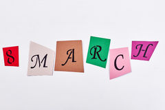 Coloured cards with letters. Stock Photo