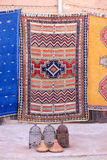 Coloured carpets. A variety of colored carpets from Northern Africa. Morocco, Marrakech Stock Photos