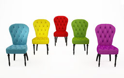 The coloured chairs, luxurious armchairs Royalty Free Stock Image