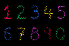 Coloured Chalk numbers royalty free stock image