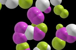 Coloured cells / atoms. Coloured chemistry / science cells / atoms / nucleus Royalty Free Stock Image