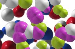 Coloured cells / atoms. Coloured chemistry / science cells / atoms / nucleus Stock Photography