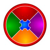 Coloured circular puzzle. Divided into four parts Royalty Free Stock Photos