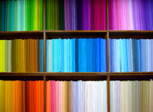 Coloured cloth. Bolts of colored cotton arranged on display in a fabric shop in Delhi, India Stock Photo