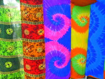 Strips of coloured cloth Stock Images