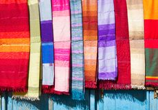 Coloured Cloth and Silk. A variety of coloured cloths and silks from Northern Africa. Morocco, Essaouira Royalty Free Stock Photography
