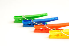 Coloured clothes-pegs 3 Royalty Free Stock Photos