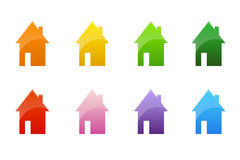 Coloured cottages Stock Photos
