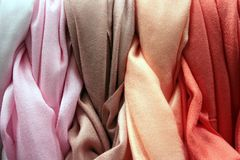 Coloured Cotton Gradation. Coloured Cotton: Cloth, textures. Textile Industry Royalty Free Stock Photography