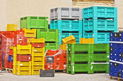 Coloured crates royalty free stock images