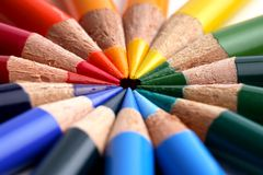 Coloured crayon. Some coloured crayons and a white background royalty free stock photos