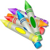 Coloured Crayons Stock Photos