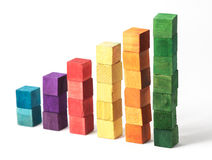 Coloured Cubes on White Background. Stacked wooden coloured cubes isolated on white background Royalty Free Stock Photography