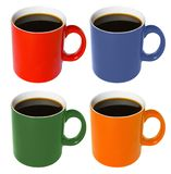 Coloured cup - with coffee. Four (red, blue, green, yellow) coloured cup - with coffee Stock Image