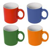 Coloured cup - empty. Four (red, blue, green, yellow) coloured cup - empty Royalty Free Stock Photography