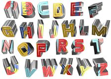 3d alphabet letters. Coloured 3d alphabet letters typography Stock Images