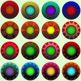 Coloured decorated buttons. Set of 16 colour and decoration variated buttons Stock Images
