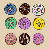 Coloured donuts set Royalty Free Stock Image