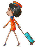 A coloured drawing of an air hostess Royalty Free Stock Photos