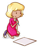 A coloured drawing of a girl reading and writing. Illustration of a coloured drawing of a girl reading and writing on a white background vector illustration