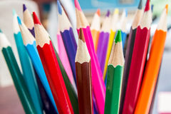 Coloured Drawing Pencils. A Still Life of Artists Colouring Pencils on a desk Royalty Free Stock Photo