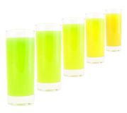Coloured drink. Different -white background stock photos