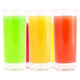 Coloured drink. Different -white background royalty free stock image
