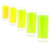 Coloured drink. Different -white background stock photography