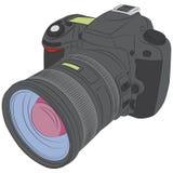 Coloured DSLR with lens. DSLR with lens coloured  drawing Royalty Free Stock Photos