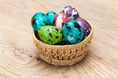 Coloured Easter eggs. In a basket Royalty Free Stock Image