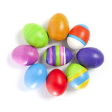 Coloured easter eggs. Hand-painted colorful easter eggs isolated on white Royalty Free Stock Photography