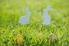 Coloured Easter eggs with rabbit decorations Stock Photo