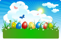 Coloured eggs in a meadow vector illustration