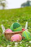 Coloured eggs on meadow b Royalty Free Stock Photography