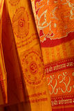Coloured fabrics. In India royalty free stock photos